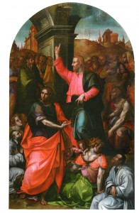 Carlo Portelli, Cristo che predica con i santi Giovanni Evangelista e Battista, e committenti, 1571, Tavola, Colle di Buggiano (Pistoia), chiesa di San Lorenzo martire.